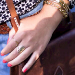 24K Gold Plated Framed Monogram Ring -                          How it looks in reality - Thumbnail - 17