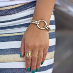 24K Gold Plated Framed Monogram Ring -                          How it looks in reality - Thumbnail - 11