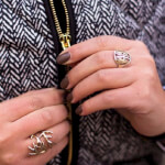 24K Gold Plated Framed Monogram Ring -                          How it looks in reality - Thumbnail - 4