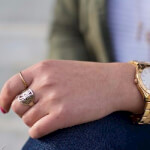 24K Gold Plated Framed Monogram Ring -                          How it looks in reality - Thumbnail - 14