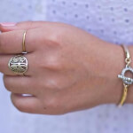 24K Gold Plated Framed Monogram Ring -                          How it looks in reality - Thumbnail - 5