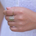 24K Gold Plated Framed Monogram Ring -                          How it looks in reality - Thumbnail - 7