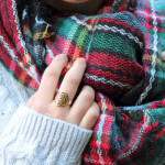 24K Gold Plated Framed Monogram Ring -                          How it looks in reality - Thumbnail - 8