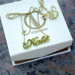 24K Gold Plated Swarovski Alegro Name Necklace -                          	How it looks in reality - Thumbnail - 1