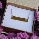 24K Gold Plated Classic Name Horizontal Bar Necklace -                          	How it looks in reality - Thumbnail - 0