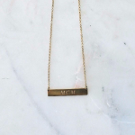 24K Gold Plated Classic Name Horizontal Bar Necklace -                          	How it looks in reality - Thumbnail - 3