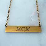24K Gold Plated Classic Name Horizontal Bar Necklace -                          	How it looks in reality - Thumbnail - 4