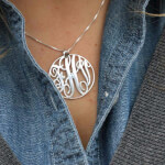 Collier Monogramme Circulaire en Argent -                          	How it looks in reality - Thumbnail - 0