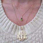 Sterling Silver Monogram Necklace -                          	How it looks in reality - Thumbnail - 1