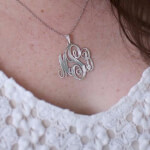 Sterling Silver Monogram Necklace -                          	How it looks in reality - Thumbnail - 4