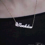 24K Gold Plated Classic Name Necklace -                          	How it looks in reality - Thumbnail - 14