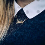 24K Gold Plated Classic Name Necklace -                          	How it looks in reality - Thumbnail - 17