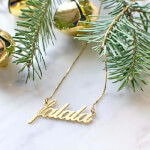 24K Gold Plated Classic Name Necklace -                          	How it looks in reality - Thumbnail - 3