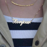 24K Gold Plated Classic Name Necklace -                          	How it looks in reality - Thumbnail - 5